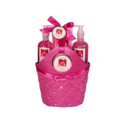 Morgan Avery Bath and Body Satin Rhinestone Bag Gift Set, Rose