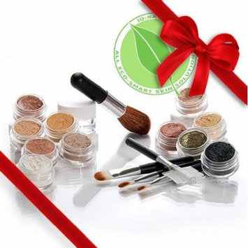 IQ Natural Sample Kit of Natural Premium Minerals with 5 piece Black Brush Kit (DARK)