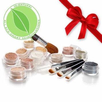 All Natural Mineral Makeup, Eye Shadow, Blush Sample Kit (Dark Medium Shade) with 5 piece Black Brush Kit by IQ Natural