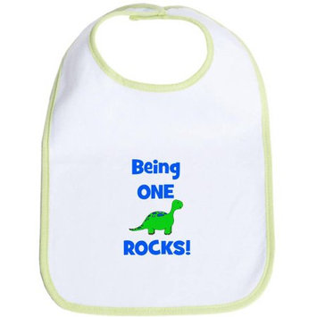 CafePress Newborn Being One Rocks! Dinosaur Bib