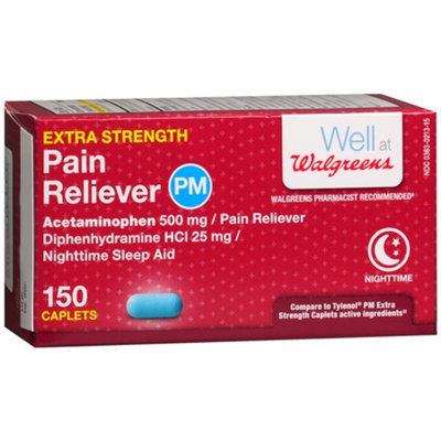 Walgreens Pain Reliever Extra Strength PM Caplets, 150 ea