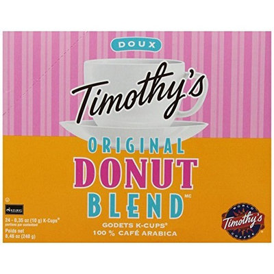 Timothy's World Coffee, Original Donut Blend, K-Cup Portion Pack for Keurig K-Cup Brewers 24-Count (Pack of 2)
