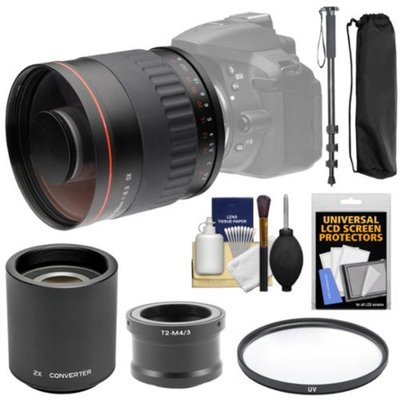 Vivitar 500mm f/6.3 Mirror Lens with 2x Teleconverter (=1000mm) + Monopod + Filter + Kit for Olympus Pen/OM-D & Panasonic Lumix Micro Four Thirds Camera