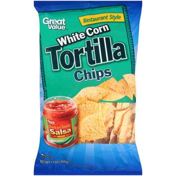 Great Value Restaurant Style White Corn Tortilla Chips, 13 oz