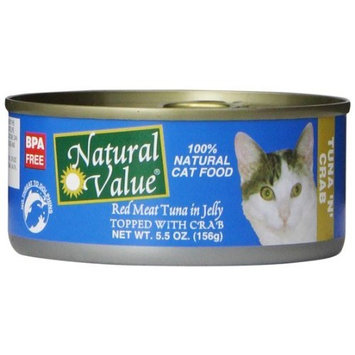 Natural Value Red Meat Tuna in Jelly Topped with Crab Cat Food, 5.5 Ounce Cans (Pack of 24)