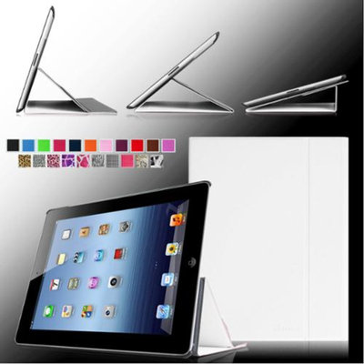 Fintie Smart Book Cover Case Supports Three Viewing Angles for Apple iPad 2, iPad 3 & iPad with Retina Display, White