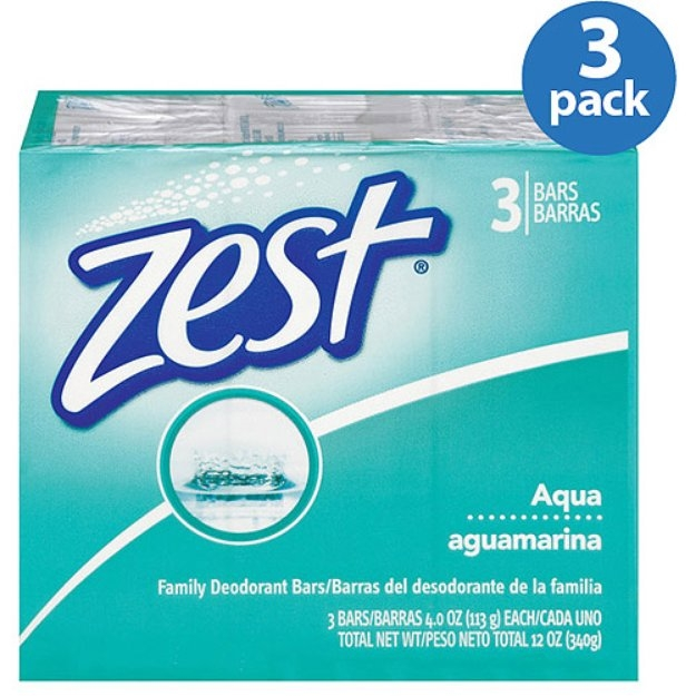 Zest Family Deodorant Soap Bars 3 Pack Aqua