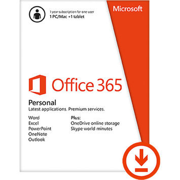 Microsoft Office 365 Personal 1 PC/Mac + 1 Tablet/iPad, 1-year subscription (Email Delivery)