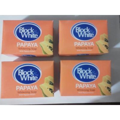 4 Block &White Papaya Whitening Soap w/papaya Extract 135g