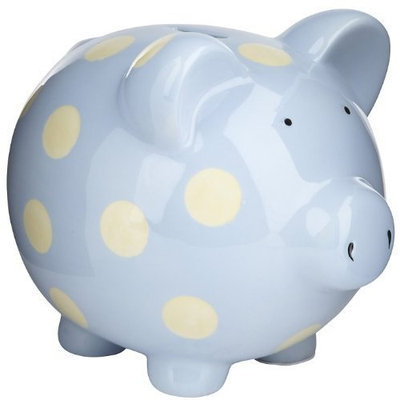 Elegant Baby Classic Pig Bank with Cream Polka Dots - Pastel Blue