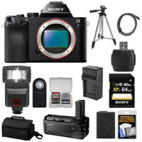 Sony Alpha A7 Digital Camera Body (Black) with VG-C1EM Grip + 64GB Card + Case + Battery + Tripod + Flash + Accessory Kit
