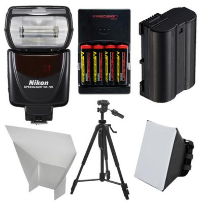 Nikon SB-700 AF Speedlight Flash with EN-EL15 & AA Batteries + Tripod + Softbox + Reflector for D7000, D7100, D610, D800 Digital SLR Camera