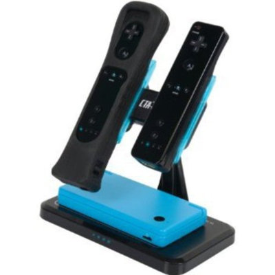 DB Drive Black Dual Vertical Induction Charger for Wii, DSi and DSiXL
