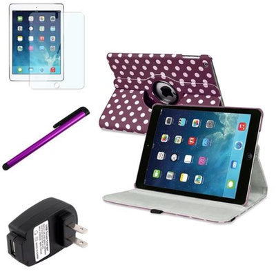 Insten INSTEN Purple/White Polka Dot 360 Leather Case Cover+Guard Pen For Apple iPad Air 5 Gen