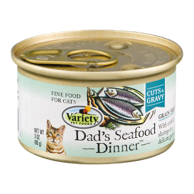 Variety Cat Food Dad's Seafood Dinner Cuts & Gravy