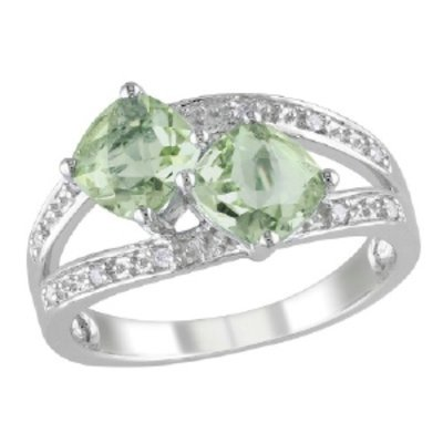 Amour Silver Diamond & Amethyst 2 Stone Ring, 5, White, Green, 1 ea