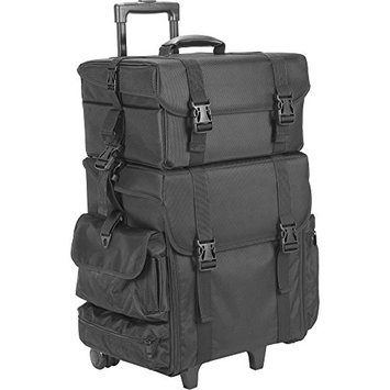 JustCase Hiker T5273 2-in-1 Soft Sided Professional Rolling Trolley Makeup Artist Cosmetic Case