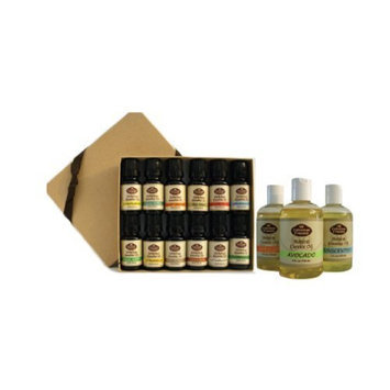 Combo Pure Set - 12 Essential Oils and 3 Carrier Oils - Basil