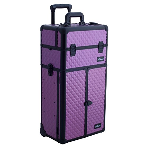 Sunrise 2-in-1 Aluminum Rolling Cosmetic Makeup Artist French Door Case with 2 Sliding Trays and 2 Large Drawers