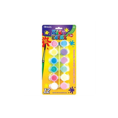 BAZIC 12 Color 6ml Kid's Paint With Brush
