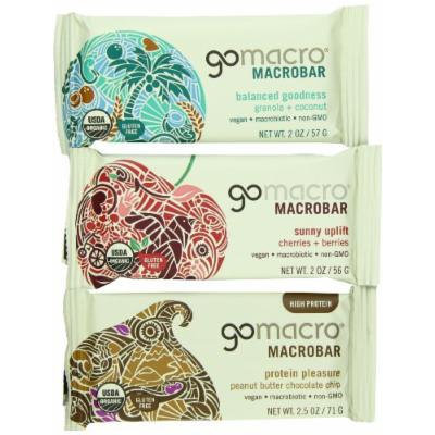 GoMacro Organic Variety Pack of Peanut Butter Chocolate Chip, Granola with Coconut, and Cherries and Berries, 1.8 oz- 2.5 oz Bars (Pack of 15)