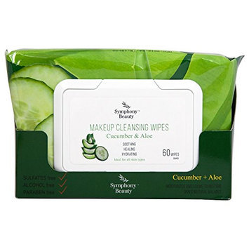 Symphony Beauty Makeup Cleansing Wipes 60 Wipes (Cucumber & Aloe)