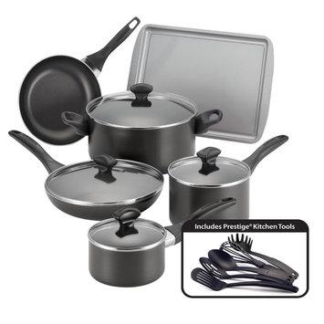Meyer Corporation Us Farberware Black Nonstick 15-piece Cookware Set
