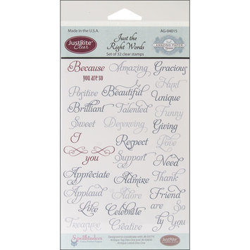 Justrite JustRite Stampers Clear Stamp Set-Just The Right Words 32pc