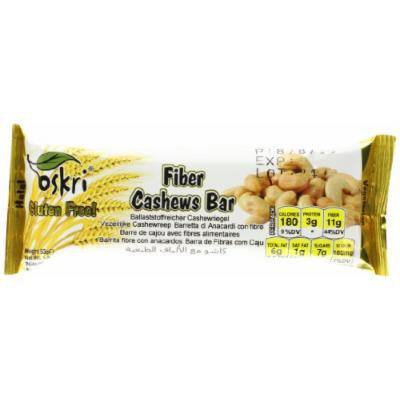 Oskri Fiber Bar, Cashews, 1.9-Ounce (Pack of 20)