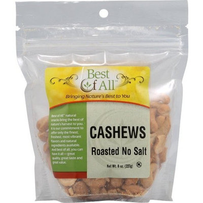 Best Of All Cashews Roasted No Salt -- 8 oz