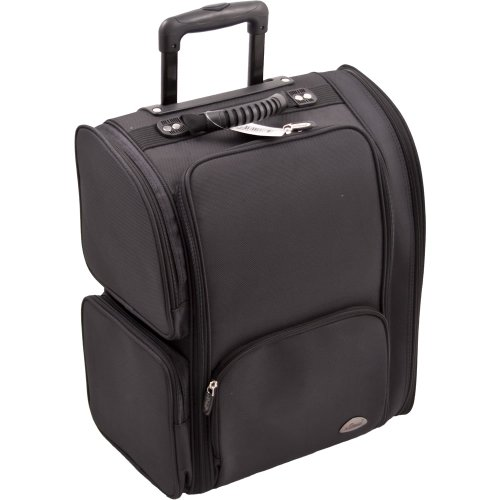 Sunrise High Quality Nylon Professional Soft Sided Rolling Makeup Case with Pouches in Black