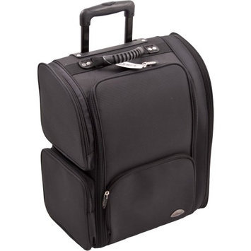 Craft Accents All Black Soft-Sided Professional Rolling Makeup Case with Removable Clear Bags