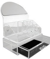 Rucci Or104 Clear Acryllic Cosmetic Organizer with Mirror and Tray