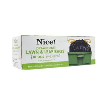 Nice! Drawstring Lawn & Leaf Bags 39 Gallon, 18 ea