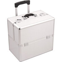 Sunrise 3-Tier Easy Slide Trays Rolling Makeup Case with Dividers in Silver Aluminum Finish