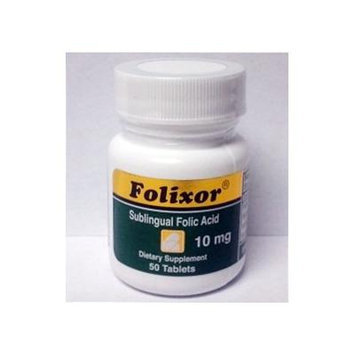 Folixor 10 mg - A superior Folic Acid and Folinic Acid (active form of folate) w/ B-12, B6 - a complete Cardio Vascular solution. Available in 50 SUBLINGUAL (under the tongue) tablets for enhanced absorption.