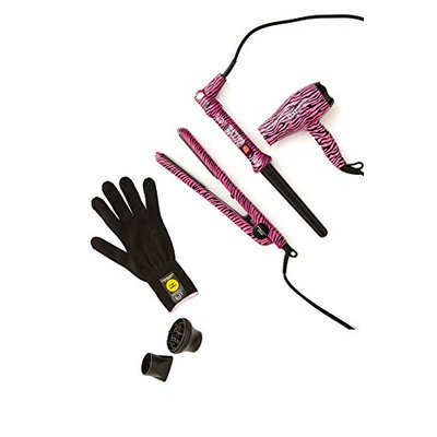 Le Angelique Pixi Pink Zebra Set (Flat Iron
