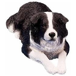 Sandicast Original Size Black/White Border Collie Sculpture