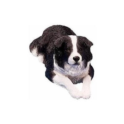 Sandicast Original Size Black/White Border Collie Sculpture
