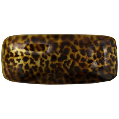Caravan Hand Painted Large Panther Design Barrette In Two (2) Tone