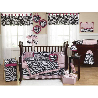 Sweet Jojo Designs Zebra Pink Collection 9pc Crib Bedding Set