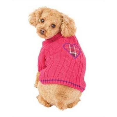 Fashion Pet Pink Heart to Heart Dog Sweater Medium