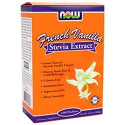 Now Foods French Vanilla Stevia Packets 100/box