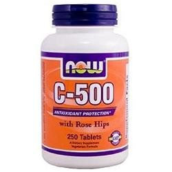 NOW Foods - Vitamin C-500 with Rose Hips Vegetarian/Vegan - 250 Tablets