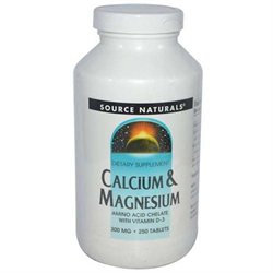 Source Naturals Calcium and Magnesium - 300 mg - 250 Tablets