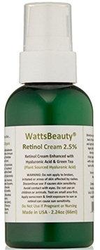 Watts Beauty 2.5% Retinol Cream - Anti Aging Retinol Enhanced with Hyaluronic Acid