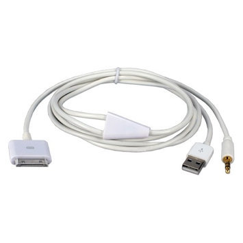 QVS Hi-fi Stereo Audio USB Sync/Charger Cable for iPod, iPhone iPad/2/3