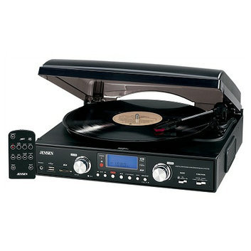 Jensen 3-Speed Stereo Turntable with Radio JTA-460