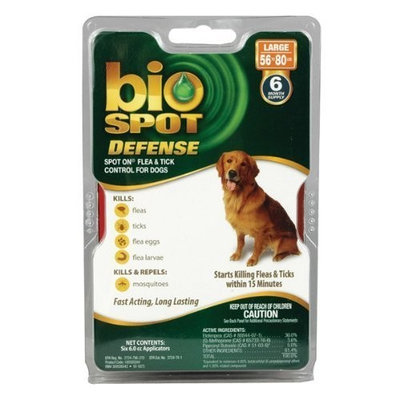 Bio Spot Defense Spot on Flea and Tick Dogs 56-80-Pound, 6-Month Supply