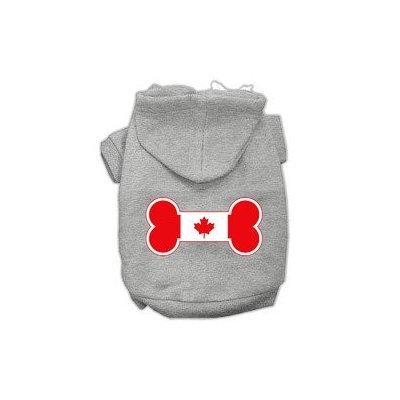 Mirage Pet Products Bone Shaped Canadian Flag Screen Print Pet Hoodies Grey XS (8)